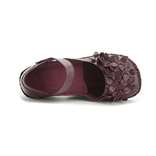 L@YC® Frauen Flache Schuhe Leder Handgefertigte Sandalen Weiche Untere Pumpe Satin Hochzeitsfeier BüRo Schuhe Purple