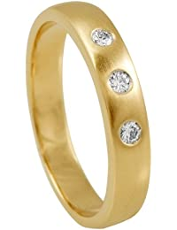 Diamond Line Damen - Ring 585er Gold 3 Diamanten ca. 0,10 ct. gelbgold