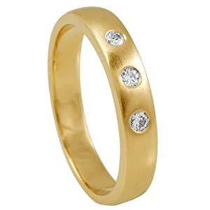 Diamond Line Damen – Ring 585er Gold 3 Diamanten ca. 0,10 ct. gelbgold
