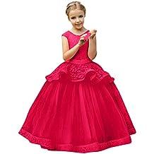 Modaworld Vestido de Princesa del Desfile con Encajes sin Mangas Falda de  Fiesta para Niñas Vestido de Fiesta de Tul de Encaje Falda de Boda para  Niñas ... b0ee067ecd4d