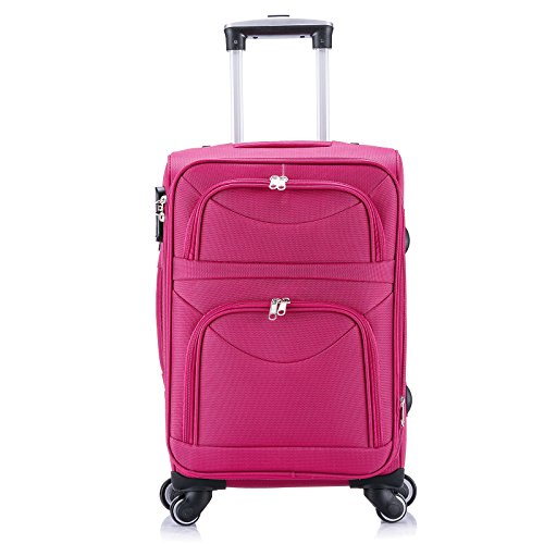 WOLTU RK4214gr-M-a Reise Koffer Trolley mit 4 Rollen , Weichgepäck Reisegepäck , Reisekoffer Stoff 1200D Oxford Weichschale , Handgepäck leicht & günstig , Grau (M, 56 cm & 42 Liter) Pink
