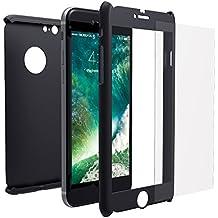 Funda iPhone 6s 360 Integral Para Ambas Caras + Protector de Pantalla de Vidrio Templado, Mobilyos® [ 360 ° ] [ Negro ] Case / Cover / Carcasa iPhone 6s / 6