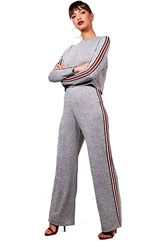 Gris Femmes Mila Sport Stripe Wide Leg Knitted Lounge Set Gris