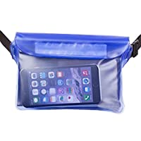 Esoes 2 Pack Universal Waterproof Pouch Dry Bag Case with Waist Strap for Beach, Swimming, Fishing, Camping - Protect Your Cell phone, Camera, Cash, MP3,Wallet from Water, Snow,Sand and Dirt (Blue)