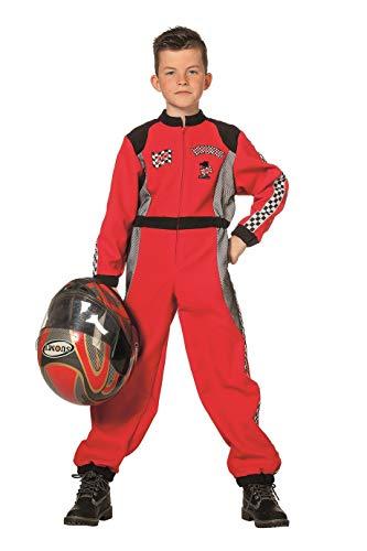 Racing Overall Kostüm - The Fantasy Tailors Rennfahrer-Kostüm Herren Overall Rot Racing Formel 1 Formula 1 Renn-Anzug Karneval Fasching Hochwertige Verkleidung Fastnacht Größe 164 Rot