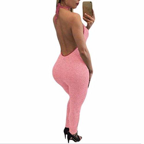 QIYUN.ZManches Chic Le Cou U Des Femmes Dos Ouvert Barboteuse Bodycon Casual Jumpsuit Rouge