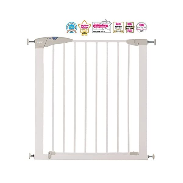 Lindam Sure Shut Axis Pressure Fit Safety Gate 76 - 82 cm, White Lindam Squeeze and lift handle for easy one handed adult opening Four point pressure fit - U shaped power frame provides solid pressure fitting; pressure indicator assures baby gate is installed correctly Also features second lock at the base of the gate 2