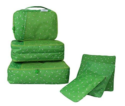 COMVIP 6-Teiliges Set Wäschebeutel Kofferorganizer Kleidertaschen Packtaschen Kofferorganizer Reisetaschen Pink Blüte Grün Hund