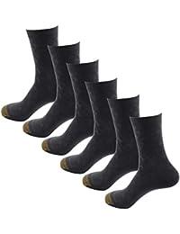 HOEREV bambou Fibre respirante quotidienne chaussettes hommes, lot de 6