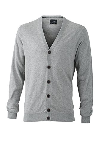 Melange Kaschmir-cardigan (James & Nicholson Herren Cardigan Strickjacke, Grau (Light-Grey-Melange), Medium)