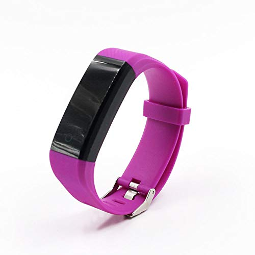 DMMDHR 115 Plus Pulsera Inteligente Sport Bluetooth Pulseras Monitor de Ritmo cardíaco Reloj Impermeable Rastreador de Ejercicios Reloj Smart Band, Púrpura