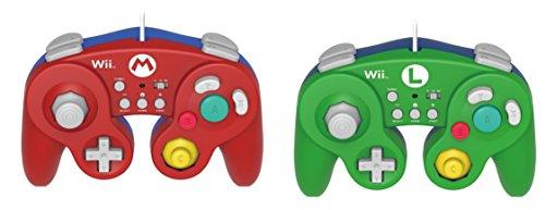 2Stück Hori Schlacht Kampf Pad Value Bundle für WII U (Mario & Luigi Bundle Versionen) mit Turbo-Nintendo WII U Gamecube Classic Pro Controller Game Pad Rot und Grün (Nintendo Wii U Gamecube)