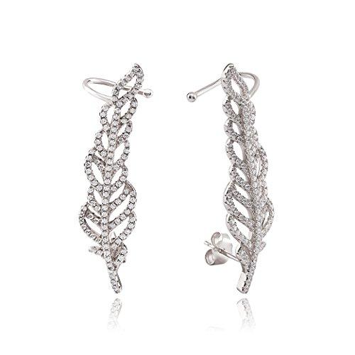 Ingenious Jewellery-Anello per elice, in argento Sterling con pavé a motivo: piuma