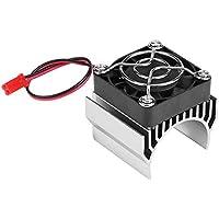 RC Motor Disipador de Calor con Ventilador de Refrigeración, RC Heat Sink Cooling Fan para Escala 1/10 Coche RC Eléctrico 540/550/3650 Reemplazo del Motor de Repuesto Parte Accesorio(Plata)
