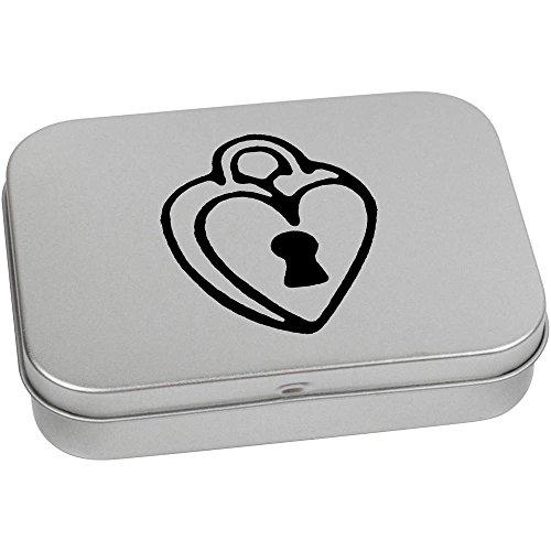 Azeeda 110mm x 80mm 'Corazón Candado' Caja Almacenamiento