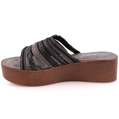 """Unze Les femmes """"BURRY"""" Open Toe Wedge Long-Walk plage décontracté Slipper UK Size 3-8 Noir"""