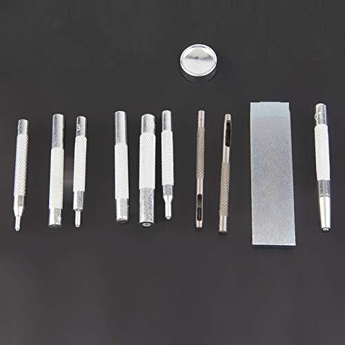 Grommet Stud Belt (Appearandes11pcs Metal Leather Craft Tool Punch Snap Fastener Installation Kit Rivet Setter Base Set for DIY Leather Craft)