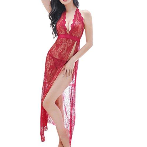 VENMO Dessous Frauen Unterwäsche Nachtwäsche Spitzenkleid G-String Set Umstandsmode langes siehe Spitze Fotografie Maxi Kleid Spitze Babydoll Patchwork Nachtkleid mit G-String Kleid (Sexy Red) (Nachtkleid Robe)