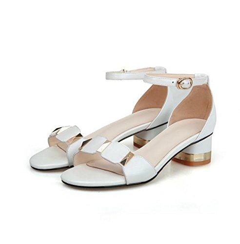 Das Wort Schnalle offene Spitze Sandalen mit dicken mit wilden runden Damenschuhen White
