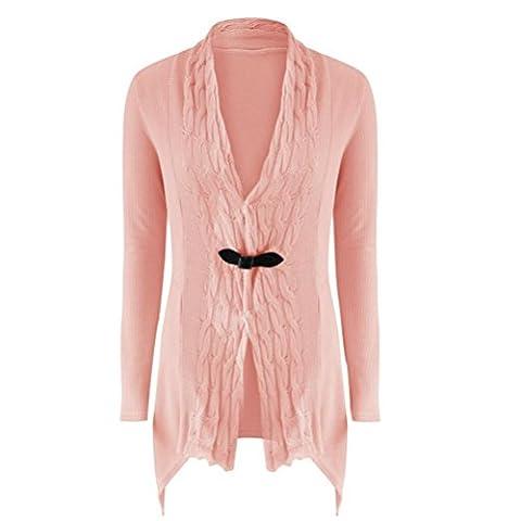 Damen Damen Lange Ärmel Pullover Strick Cardigan Outwear (M, Rosa)