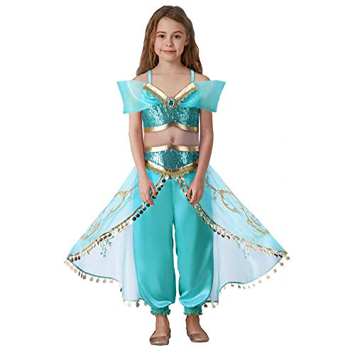 Pettigirl Mädchen Aladdin Princess Dress Up Kostüm Türkis & Gold Outfit