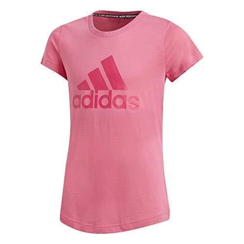 Adidas must haves bos t-shirt, maglietta bambina, semi solar pink/real magenta, 14-15a