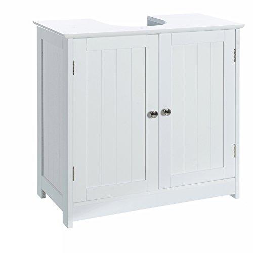 Foto de Armario bajo lavabo minimalista blanco de madera para cuarto de baño Vitta - Lola Home