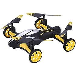 DUCKTOYS RC Drone, Tierra/Cielo 2-en-1 avión giroscopio de 6 Ejes de un botón de Vuelta patrón 360 ° cayendo avión de Control Remoto Quadcopter Juguete, para Principiantes,Yellow