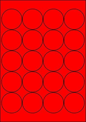 100 Etiketten Farbetiketten selbstklebend rund 50 mm ROT permanent klebend auf Bogen A4 (5 Bögen x 20 Etik.)