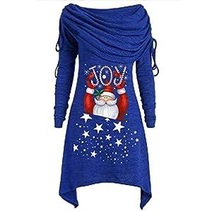 LOPILY Weihnachtspullover Damen Rollkragenpullover mit Weihnachtsmann Santa Claus Motiv Asymmetrisch Weihnachtspullis Große Größen Roter Weihnachten Wasserfallshirts Übergröße Locker