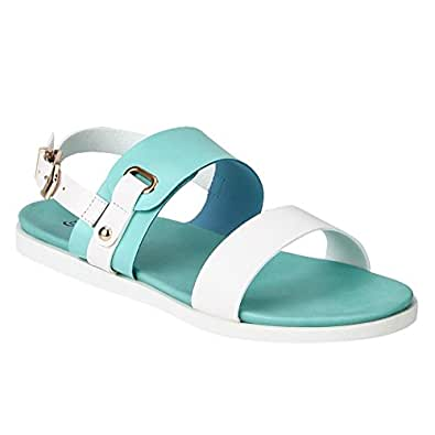 7c377c7da80003 ESTATOS Etashee Faux Leather Open Toe Green and White Twin Strap Buckle  Closure Flat Sandals for Women  Buy Online at Low Prices in India -  Amazon.in