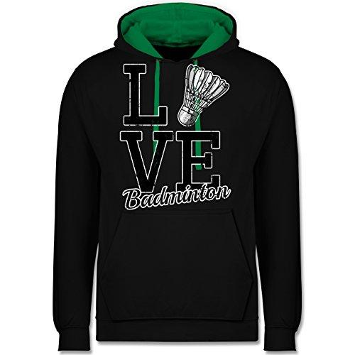Sonstige Sportarten - Love Badminton - Kontrast Hoodie Schwarz/Grün