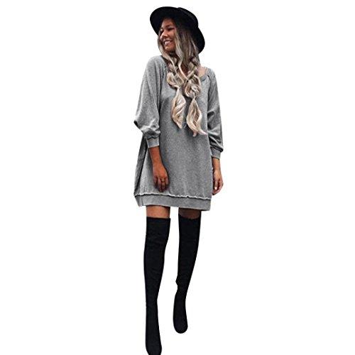 Amlaiworld Femmes Automne hiver robe de coton manches longues Gris