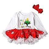 POLP Niño Regalo Navidad Bebe Pijama Rojo Navidad Bebe Disfraz Árbol de Navidad de Dibujos Animados de Navidad Muñeco de Nieve Copo de Nieve Vestido de Falda Tutu de Encaje + Diadema 2pcs