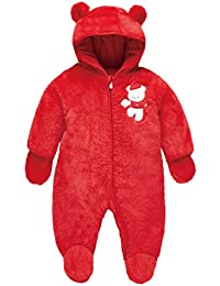 Bebé Traje de Nieve Mameluco Invierno Mono Peleles con Capucha Espesar Pijamas