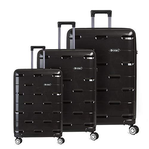 Set valigie da viaggio in polipropilene - trolley rigidi e leggeri con 4 ruote - 55x40x22 bagaglio a mano/bagaglio medio/bagaglio grande da stiva (nero, set di 3 (181l))