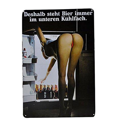 Club Bier (Lumanuby 1x Kreative Plakat für die Bar von Bent über Mädchen Sucht Bier vom Kühlschrank Deko Metall Wandschild für Bar Pub Café Esszimmer Billard-Haus Hotel oder Club Size 20x30cm)