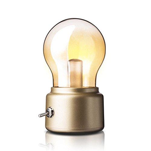 Kreativ Retro Birne Lampe von Adooo - Wiederaufladbare Kabellos LED Nacht Lichter USB Aufladung Lampe 3 Watts Nachtlampen-Dekor, Warmes Licht (Golden)