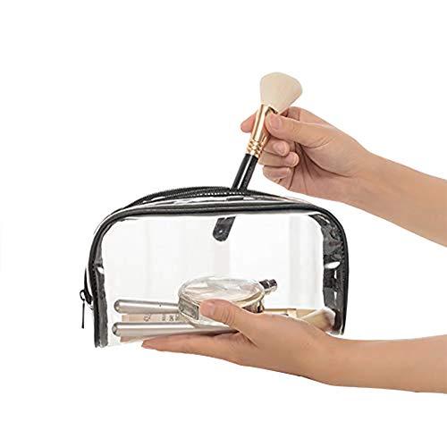 Oyfel Trousse de Toilette Transparente Plastique Sac Cosmétiques Cadeaux Sacs de Maquillage Etuis Sac de Voyage Avion dans Bagages à Main 19.5 * 6.5 * 13.5cm