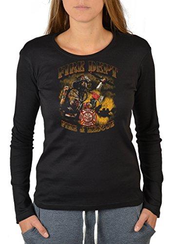 Firefighter Langarm-Shirt/Longsleeve Damen Feuerwehr-Aufdruck: Fire Dept. - USA Design Schwarz