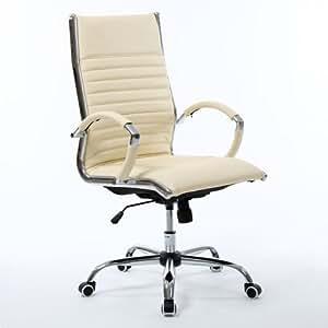 Tectake sedia direzionale da ufficio in pelle colore beige for Musica rilassante da ufficio