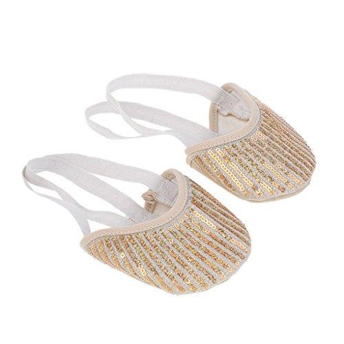 MagiDeal Ballerinas Spitzenschuh Ballet für Mädchen/Damen Tanzschuhe mit Pailletten - Gold 1, S -