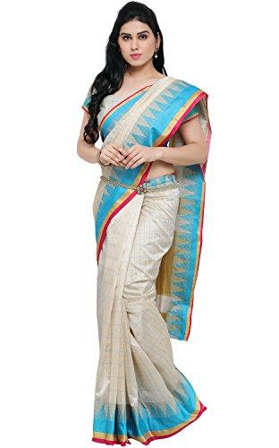 EthnicJunction Women\'s Art Silk Saree With Blouse (White_EJ1162-109 A)