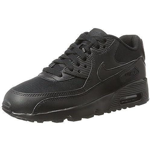 Nike Air Max 90 Mesh (GS), Sneakers Basses Garçon, Noir (Black/Black-White), 35.5 EU