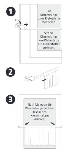 CG-Sonnenschutz Klemmstange weiß Ø 10/12mm 75-125cm für Fenster für Scheibengardinen, Spannvitrage, Vitragestange für Fenster - 2