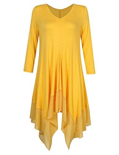 KoJooin Damen Plus Size Asymmetrische Lässige Longshirt Chiffon -