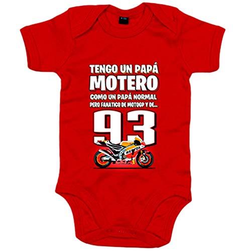 Body bebé tengo un papá motero fanático de las motos - Rojo, 6-12 meses