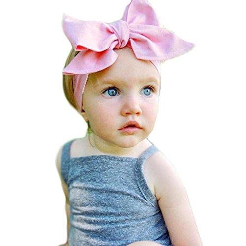 Kolylong Neugeborenes Mädchen Elastics Stirnband Hairband (3 Monate bis 6 Jahre altes Kind) (Rosa)
