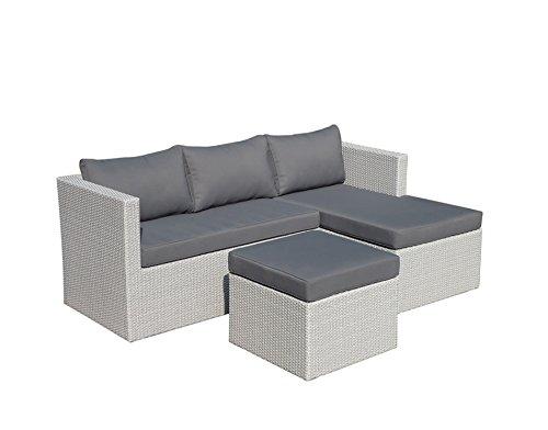 Set da Giardino colore Grigio Perla Alluminio e Simil Rattan divano e tavolino