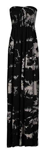 Fast Fashion Damen Maxi Kleid Plus Größe Leopardstreifen Tie-Dye Blumendruck (Tie-dye-mode)